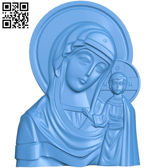 icon without salary Our Lady of Kazan A000773 wood carving file stl for Artcam and Aspire free art 3d model download for CNC