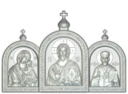 triptych Mother of God, Jesus, Nicolas file RLF for Artcam 9 and Aspire free vector art 3d model download for wood carving CNC