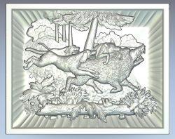 Boar hunting wood carving file stl for Artcam and Aspire jdpaint free vector art 3d model download for CNC