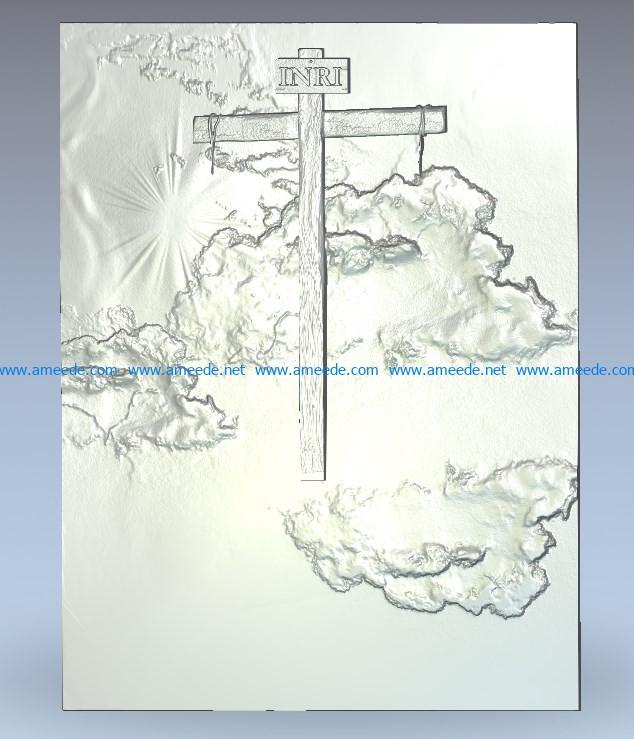 Calvary Cross wood carving file stl for Artcam and Aspire jdpaint free vector art 3d model download for CNC