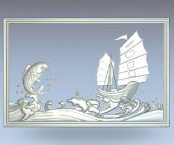 Carp fishing boat wood carving file stl for Artcam and Aspire jdpaint free vector art 3d model download for CNC