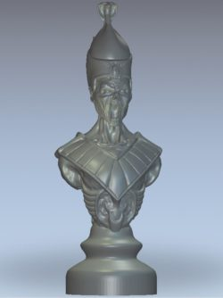 Chess undead bishop wood carving file stl for Artcam and Aspire jdpaint free vector art 3d model download for CNC