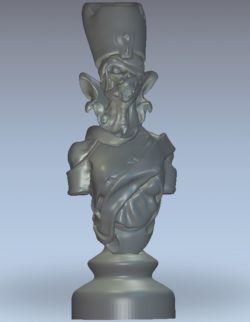 Chess undead queen wood carving file stl for Artcam and Aspire jdpaint free vector art 3d model download for CNC
