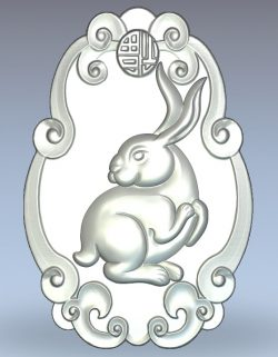 Chinese rabbit wood carving file stl for Artcam and Aspire jdpaint free vector art 3d model download for CNC
