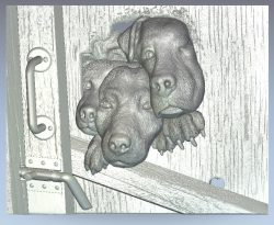 Dogs in the fence wood carving file stl for Artcam and Aspire jdpaint free vector art 3d model download for CNC