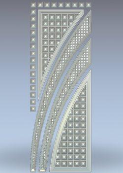 Door pattern in squares wood carving file stl for Artcam and Aspire jdpaint free vector art 3d model download for CNC
