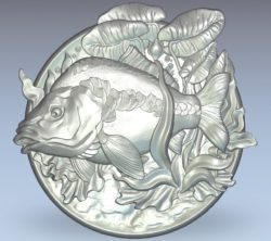 Fish picture wood carving file stl for Artcam and Aspire jdpaint free vector art 3d model download for CNC