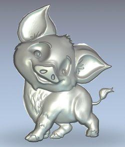 Funny pig wood carving file stl for Artcam and Aspire jdpaint free vector art 3d model download for CNC