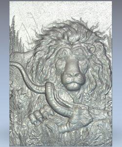 Lion hunting deer picture wood carving file stl for Artcam and Aspire jdpaint free vector art 3d model download for CNC