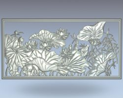 Lotus dust picture wood carving file stl for Artcam and Aspire jdpaint free vector art 3d model download for CNC