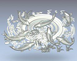 Mural of fish and lotus wood carving file stl for Artcam and Aspire jdpaint free vector art 3d model download for CNC