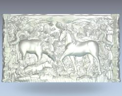 Painting of horses in the forest wood carving file stl for Artcam and Aspire jdpaint free vector art 3d model download for CNC
