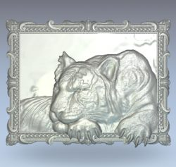Painting of the tiger lying wood carving file stl for Artcam and Aspire jdpaint free vector art 3d model download for CNC