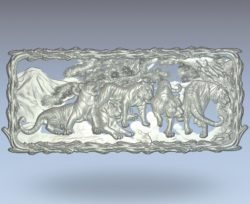 Painting of the year of the tiger wood carving file stl for Artcam and Aspire jdpaint free vector art 3d model download for CNC