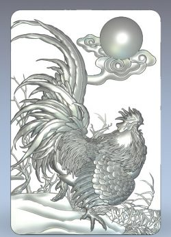 Panel rooster wood carving file stl for Artcam and Aspire jdpaint free vector art 3d model download for CNC