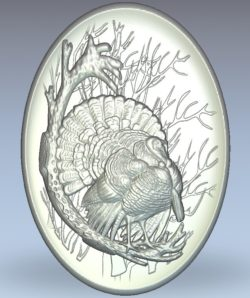 Picture of a turkey in a oval shape wood carving file stl for Artcam and Aspire jdpaint free vector art 3d model download for CNC