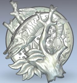 Picture of silkworm fish wood carving file stl for Artcam and Aspire jdpaint free vector art 3d model download for CNC