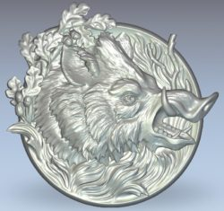 Picture of the wild boar wood carving file stl for Artcam and Aspire jdpaint free vector art 3d model download for CNC