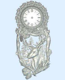 The clock has a deer in the pine forest wood carving file stl for Artcam and Aspire jdpaint free vector art 3d model download for CNC