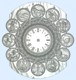 The clock shows the twelve signs of the zodiac wood carving file stl for Artcam and Aspire jdpaint free vector art 3d model download for CNC