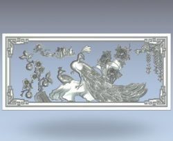 The double picture of the peacock wood carving file stl for Artcam and Aspire jdpaint free vector art 3d model download for CNC