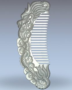The dragon-shaped comb wood carving file stl for Artcam and Aspire jdpaint free vector art 3d model download for CNC