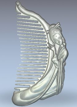 The fairy-shaped comb wood carving file stl for Artcam and Aspire jdpaint free vector art 3d model download for CNC