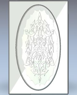 The patterned window in the heart of ellipse wood carving file stl for Artcam and Aspire jdpaint free vector art 3d model download for CNC