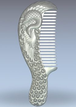 The peacock-shaped comb wood carving file stl for Artcam and Aspire jdpaint free vector art 3d model download for CNC