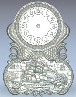 Warship clock wood carving file stl for Artcam and Aspire jdpaint free vector art 3d model download for CNC