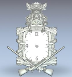 Wild boar clock wood carving file stl for Artcam and Aspire jdpaint free vector art 3d model download for CNC