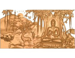 Buddha painting A002642 wood carving file stl for Artcam and Aspire jdpaint free vector art 3d model download for CNC
