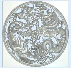 Dragon phoenix adoration planet wood carving file stl for Artcam and Aspire jdpaint free vector art 3d model download for CNC
