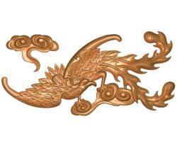Phoenix A002708 wood carving file stl for Artcam and Aspire jdpaint free vector art 3d model download for CNC