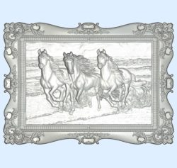 Picture of the three horses wood carving file stl for Artcam and Aspire jdpaint free vector art 3d model download for CNC