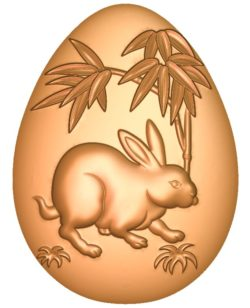 Rabbit-shaped egg A002714 wood carving file stl for Artcam and Aspire jdpaint free vector art 3d model download for CNC