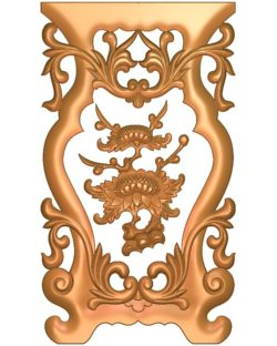 Table and chair pattern Chrysanthemum plant A002675 wood carving file stl for Artcam and Aspire jdpaint free vector art 3d model download for CNC