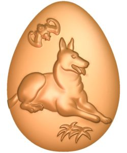 The Dog-shaped egg A002716 wood carving file stl for Artcam and Aspire jdpaint free vector art 3d model download for CNC