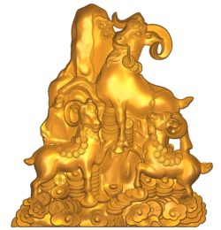 The goats stand on the golden mountain A002577 wood carving file stl for Artcam and Aspire jdpaint free vector art 3d model download for CNC