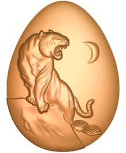 Tiger-shaped egg A002717 wood carving file stl for Artcam and Aspire jdpaint free vector art 3d model download for CNC