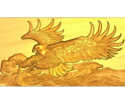Waves eagle painting A002614 wood carving file stl for Artcam and Aspire jdpaint free vector art 3d model download for CNC