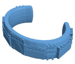 Bracelet with castle B002993 file stl free download 3D Model for CNC and 3d printer