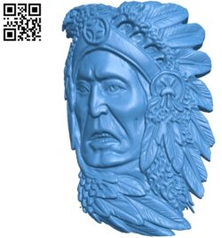 Chief tribal A002776 wood carving file stl for Artcam and Aspire jdpaint free vector art 3d model download for CNC