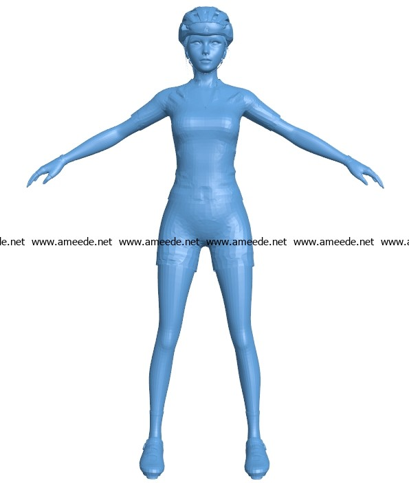 Cyclist girl B003628 file stl free download 3D Model for CNC and 3d printer