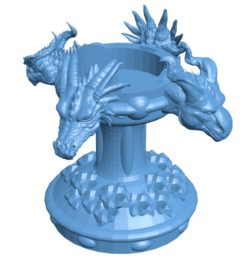 Dragon head Candlestick B002974 file stl free download 3D Model for CNC and 3d printer