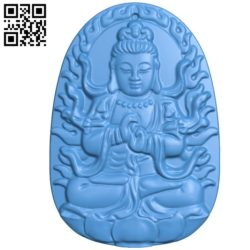 Hook wearing a Buddha Quan Yin image A002811 wood carving file stl for Artcam and Aspire jdpaint free vector art 3d model download for CNC