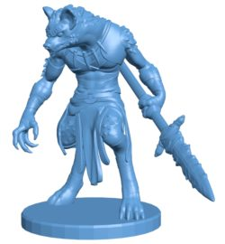 Male gnoll warrior base B003678 file stl free download 3D Model for CNC and 3d printer
