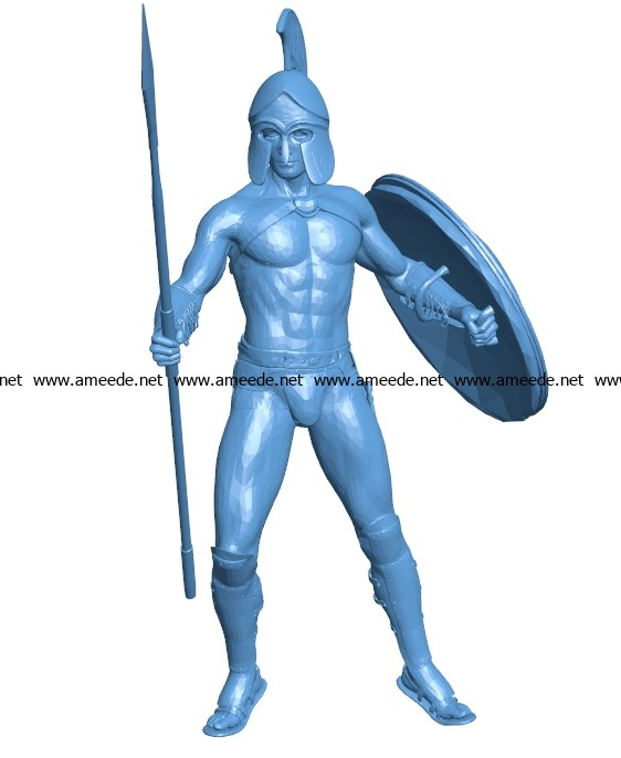 Man spartan with spear B003661 file stl free download 3D Model for CNC and 3d printer