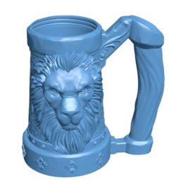 Mug Lion B003293 file stl free download 3D Model for CNC and 3d printer