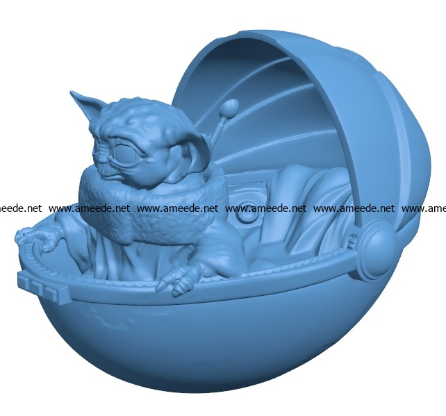 Smile Baby yoda B003187 file stl free download 3D Model for CNC and 3d printer